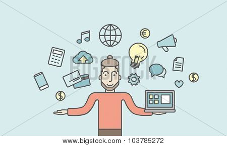 A caucasian hipster man holding a laptop. Social media concept. Vector line design illustration. Horizontal layout with a text space.
