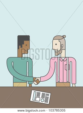 Two men standing facing each other handshaking for the successful business deal. Business partnership concept. Vector line design illustration. Vertical layout with a text space.