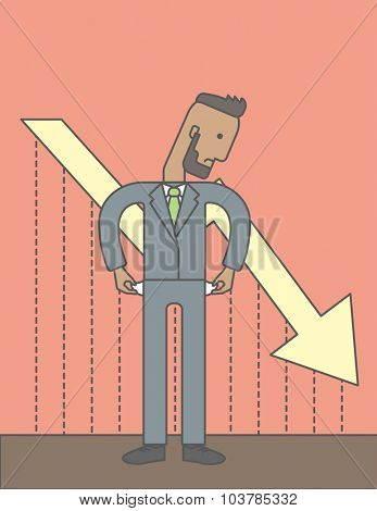 An african businessman with falling down graph is confused. Bankruptcy concept. Vector line design illustration. Vertical layout with a text space.