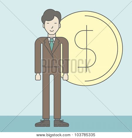An asian businessman standing with dollar coin beside him. Successful business concept. Vector line design illustration. Square layout.