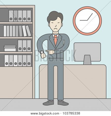 A very angry boss standing in office and pointing at wrist watch. Deadline concept. Vector line design illustration. Square layout.