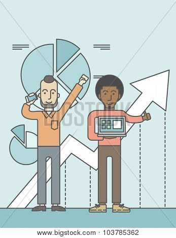 Two cheerful businessmen with arms up enjoying their success shown in the graph at their back. Successful business concept. Vector line design illustration. Vertical layout with a text space.