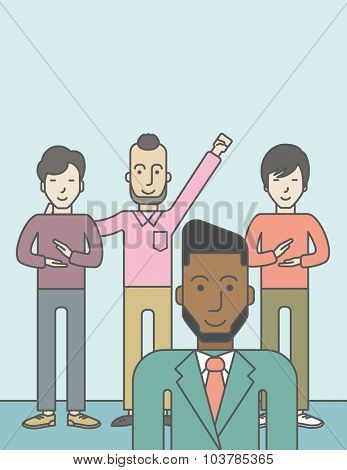 Group of happy businessmen standing. Business partnership concept. Vector line design illustration. Vertical layout with a text space.