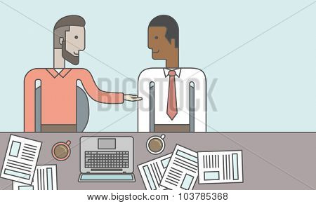 Two businessmen sitting while talking in front of laptop and documents. Business partnership concept. Vector line design illustration. Horizontal layout with a text space.
