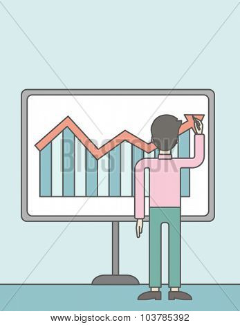 A businessman presenting his report through infographic. Reporting concept. Vector line design illustration. Vertical layout with a text space.