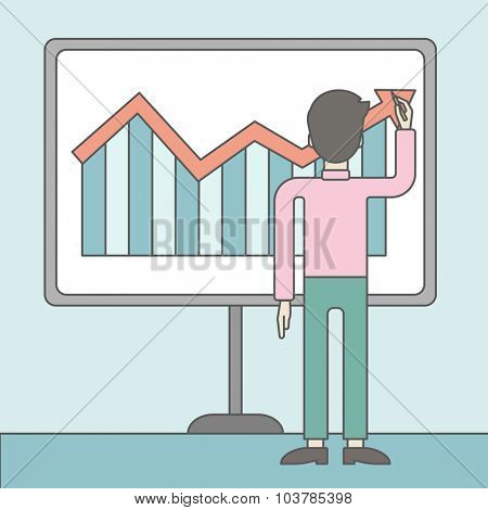 A businessman presenting his report through infographic. Reporting concept. Vector line design illustration. Square layout.