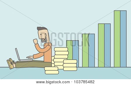 A successful caucasian businessman sitting  in front of a bar graph with pile of gold at his back and a laptop on his lap. Vector line design illustration. Horizontal layout with a text space.
