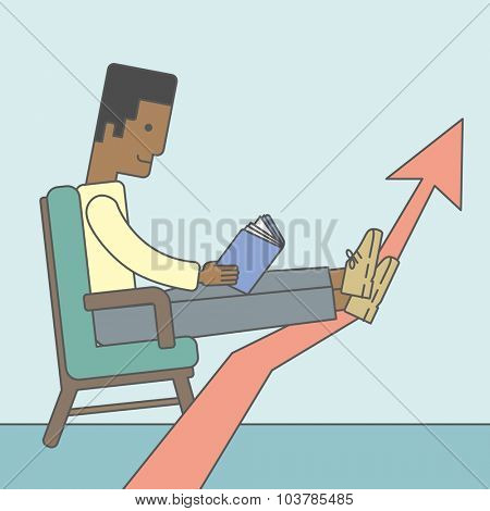 An african-american businessman sitting in chair with book in hands. Vector line design illustration. Square layout.
