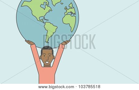 An african businessman carrying big globe. Vector line design illustration. Horizontal layout with a text space.