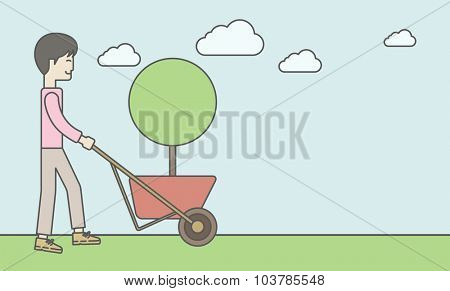 An asian businessman pushing the cart with green tree. Business growth concept. Vector line design illustration. Horizontal layout with a text space.