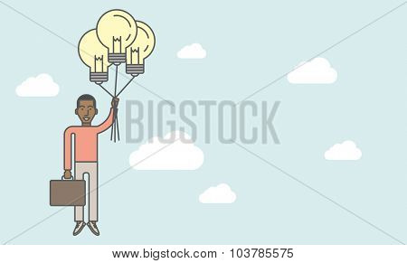 A black businessman flying with balloons made of light bulbs. Business idea concept. Vector line design illustration. Horizontal layout with a text space.