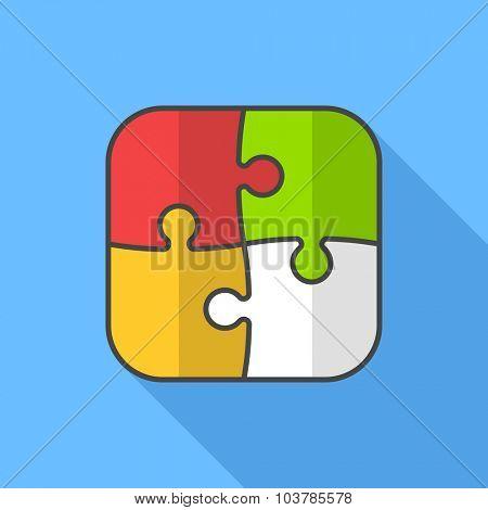 Puzzle icon. Flat Design vector icon