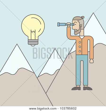 A caucasian hipster man with the beard holding telescope looking at the bulb on the top of mountain. Vector line design illustration. Square layout.