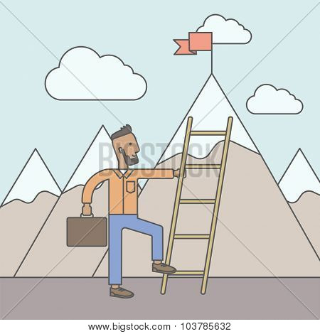 An african man standing and holding the ladder to get the red flag on the top of mountain. Success career concept. Vector line design illustration. Square layout.