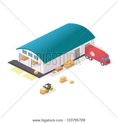 Warehouse isometric isolated set.