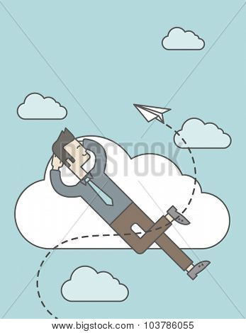 An asian man is relaxing while lying on a cloud with paper plane. Vector line design illustration. Vertical layout with a text space.