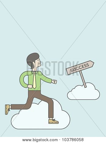 An asian businessman in the sky moving to success. Successful business concept. Vector line design illustration. Vertical layout with a text space.