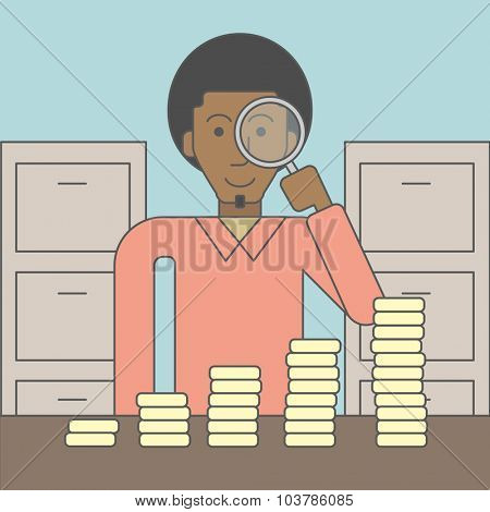 A african-american man holding magnifier and looking at stacks of golden coins. Vector line design illustration. Square layout.
