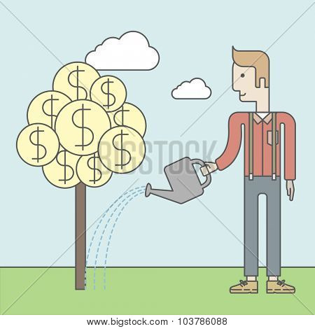 Man taking care of finances watering a money tree. Successful business concept. Vector line design illustration. Square layout.