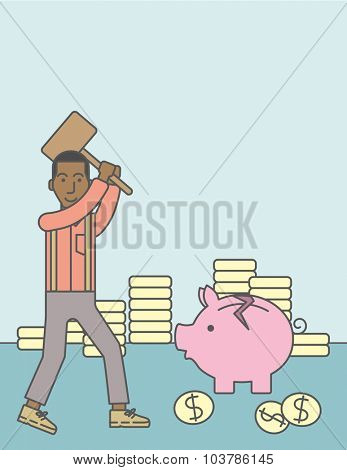 An african-american businessman standing while holding a hammer breaking piggy bank. Bankruptcy concept. Vector line design illustration. Vertical layout with a text space.