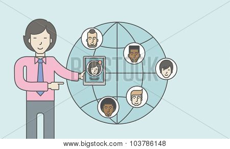 An asian man standing holding tablet with social media. Vector line design illustration. Horizontal layout with a text space.