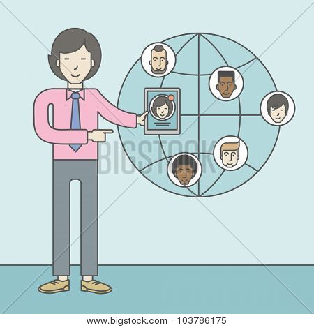 An asian man standing holding tablet with social media. Vector line design illustration. Square layout.