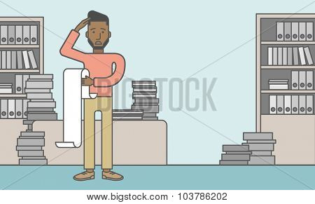 A worried african-american employee standing and holding a bill. Problem concept. Vector line design illustration. Square layout.