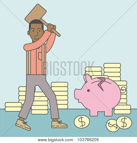 An african-american businessman standing while holding a hammer breaking piggy bank. Bankruptcy concept. Vector line design illustration. Square layout.