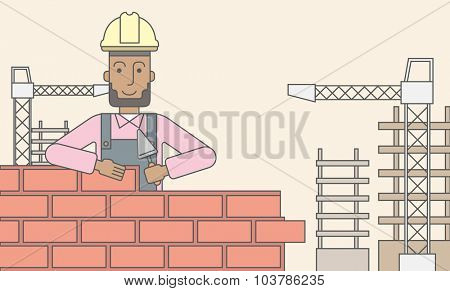 A smiling black builder wearing a hard hat building a brick wall. Vector line design illustration. Horizontal layout with a text space.