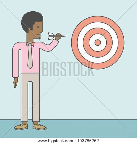 An african-american businessman standing with arrow and aiming at a target board. Vector line design illustration. Square layout.