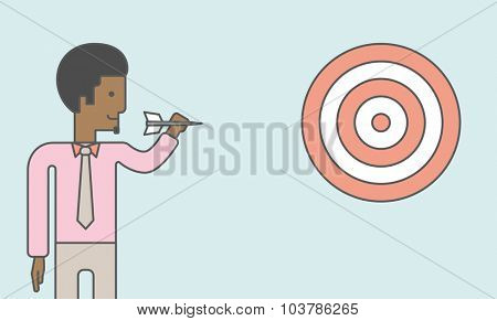 An  african-american businessman standing with arrow and aiming at a target board. Vector line design illustration. Horizontal layout with a text space.