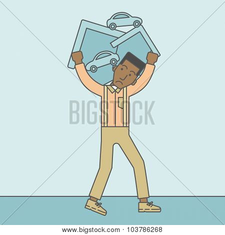 A sad african-american man carrying house and car as his loan or debt. Vector line design illustration. Square layout.