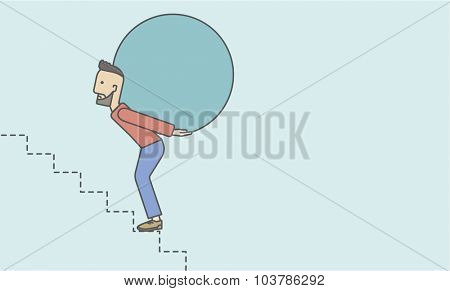 A tired caucasian hipster businessman with beard in carrying a big ball going up to reach the goal. Vector line design illustration. Horizontal layout with a text space.