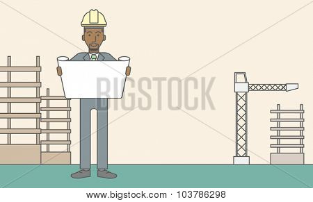 A happy african-american engineer holding blueprint on a construction site. Vector line design illustration. Horizontal layout with a text space.