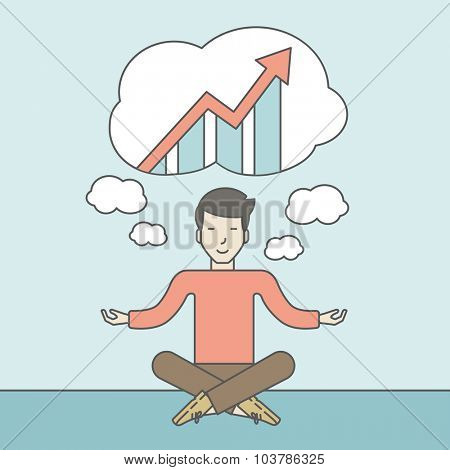Cheerful asian businessman sitting on the floor and thinking about the growth graph. Successful business concept. Vector line design illustration. Square layout.