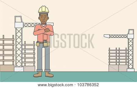 Confident african-american builder at construction site. Vector line design illustration. Horizontal layout with a text space.