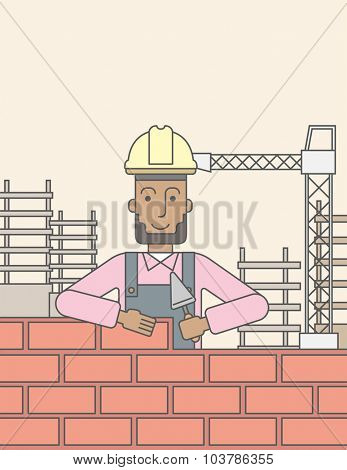 A smiling black builder wearing a hard hat building a brick wall. Vector line design illustration. Vertical layout with a text space.