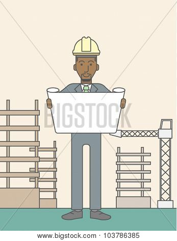 A happy african-american engineer holding blueprint on a construction site. Vector line design illustration. Vertical layout with a text space.