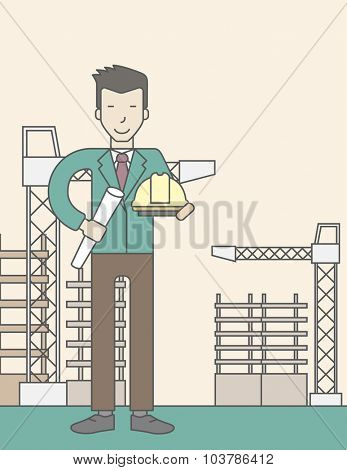 A happy asian engineer holding a hard hat and twisted blueprint on a construction site. Vector line design illustration. Vertical layout with a text space.
