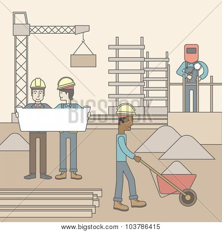 Two men considering building project while other builders work at the building site. Vector line design illustration. Square layout.
