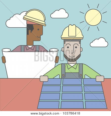 An african-american engineer holding blueprints standing near caucasian worker setting up solar panel. Vector line design illustration. Square layout.