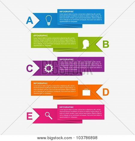 Paper Ribbon Infographics Design Template.
