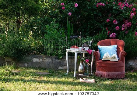 Relaxing in Roses Garden With a Book
