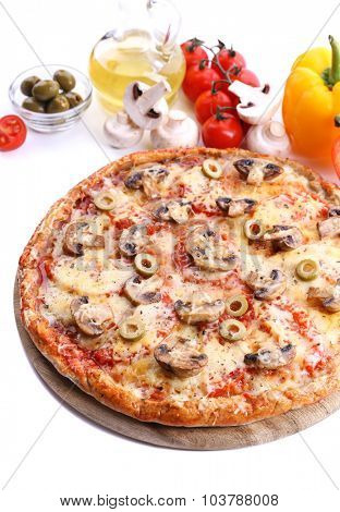 Tasty pizza with vegetables isolated on white