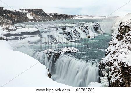 Gulfoss Golden Falls waterfall Iceland in winter