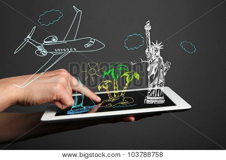 Concept of planning vacation - tablet  pc with vector illustrations