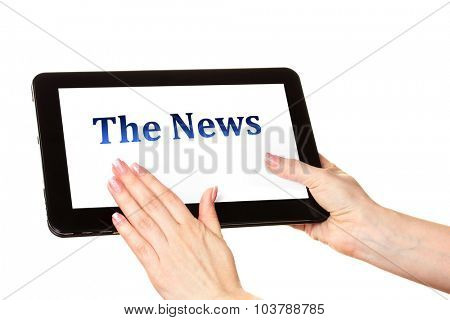 Woman reading business news on tablet PC, isolated on white