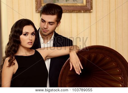 Couple at the restaurant near gramophone
