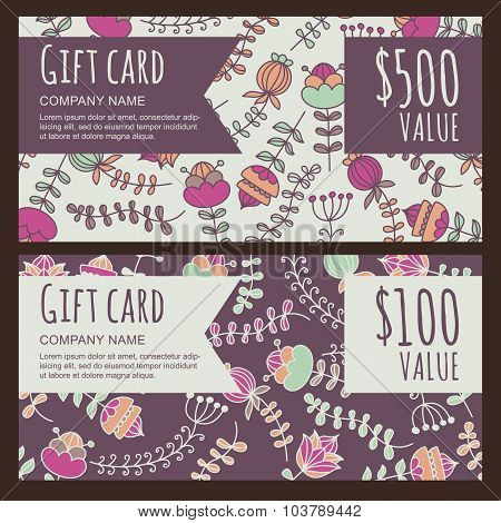 Vector Gift Voucher, Card With Hand Drawn Flowers Background.