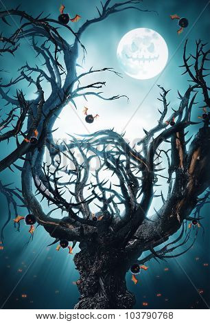 Mystic Tree With Moon And Bats